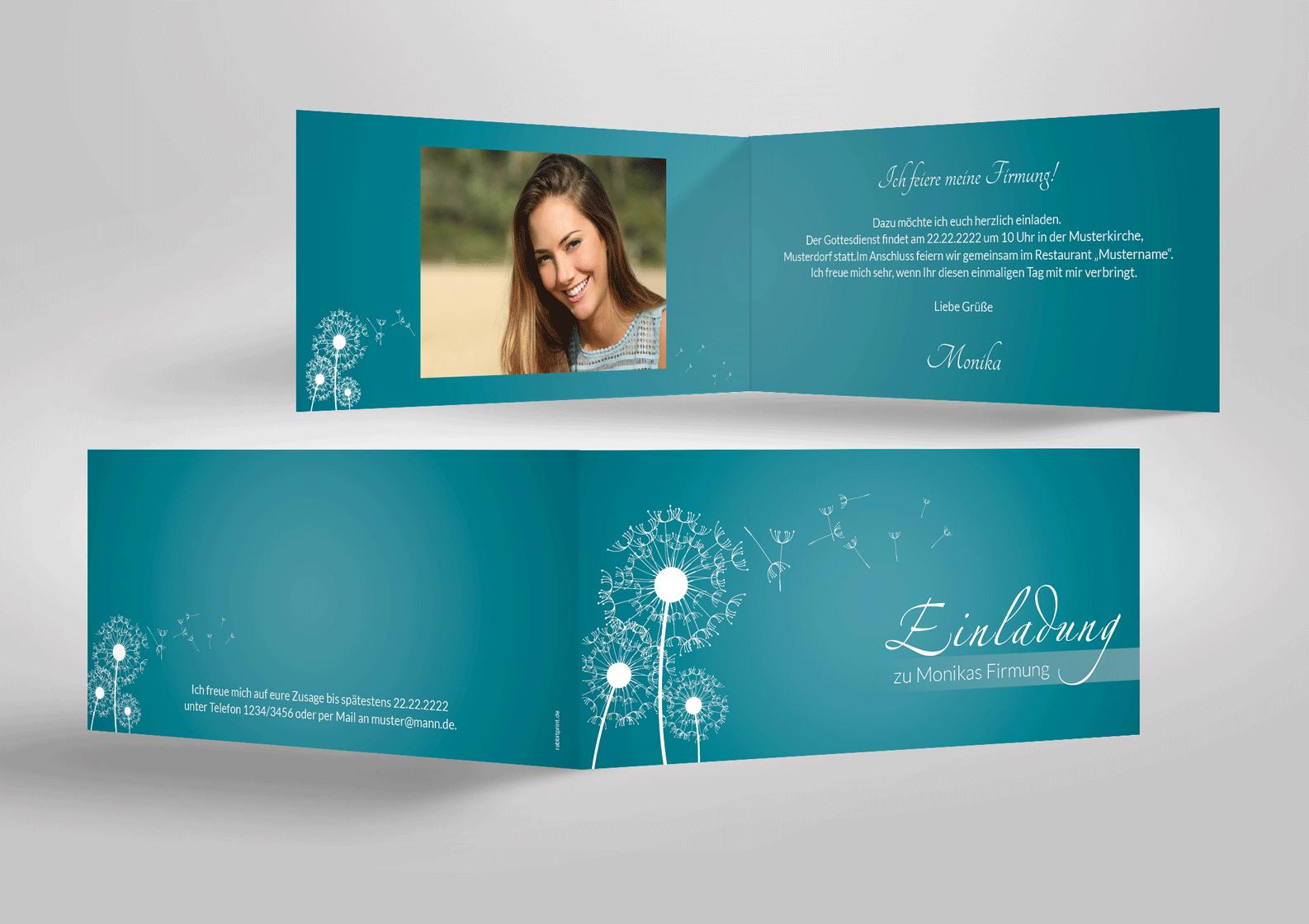 Schone Einladung Zur Firmung Mit Pusteblumen Sehr Modern Firmung Einladungen Einladungskarten