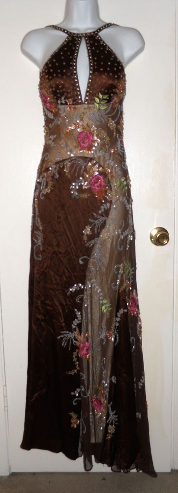 vintage Dolce Jovani heavily beaded floral brown silk halter top maxi gown sz 4 #Jovani #BallGown