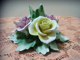 Vintage Capodimonte Italy Rose Flowers Candle Holder  $55.00 OBO