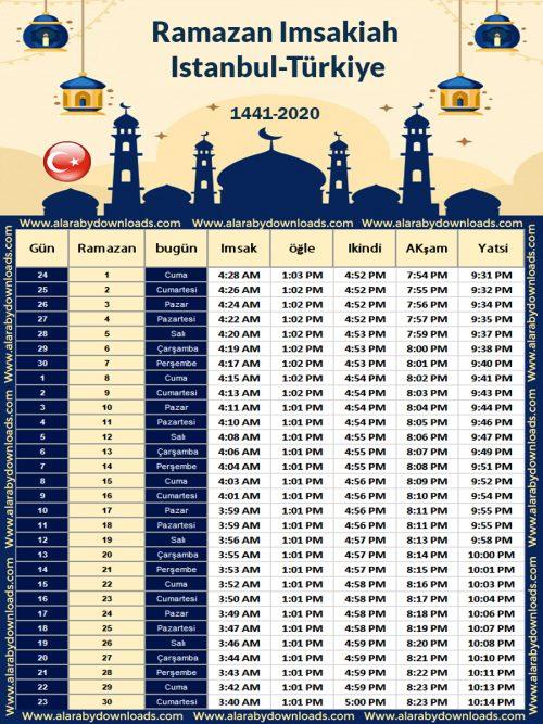 تحميل امساكية رمضان 2020 اسطنبول تركيا تقويم 1441 Ramadan Imsakia Ramadan Istanbul Am Pm