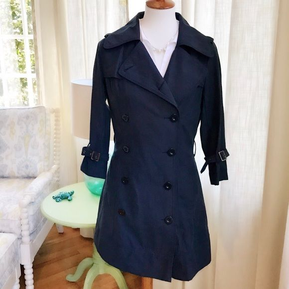 Classic Navy Lightweight Trench Worn once!  In like-new condition. Stylish and classic navy lightweight trench by Audrey 3+1.  Black buttons and belt loop set off the navy perfectly. Hits just above the knee on 5'4. Runs small...the L fit me perfectly at 140lbs and 5'4 or a size 8-10.  Sleeves are a stylish 3/4 length.  Worn once!  In like-new condition.  Gorgeous!  A perfect Spring jacket!  Missing belt but I'm looking for it!   It's here somewhere! Audrey 3+1 Jackets & Coats