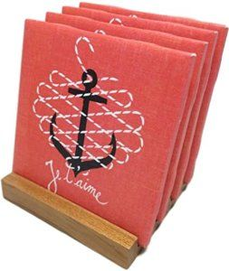 """Amazon.com: Custom & Cool {4.25"""" Inches} Set Pack of 4 Square """"Flat & Smooth Texture"""" Large Drink Cup Coaster Made of Ceramic w/ Cork Bottom & Stitched Anchor Design [Colorful Red, White & Black]: Home & Kitchen"""
