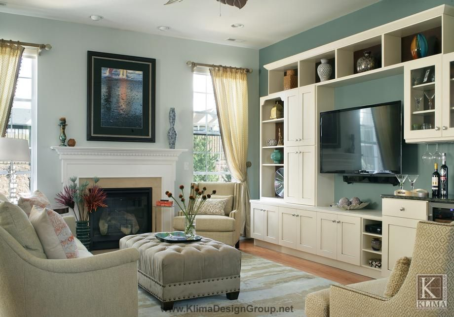 Blue Gray Family Room With White Wood Wall Unit Home