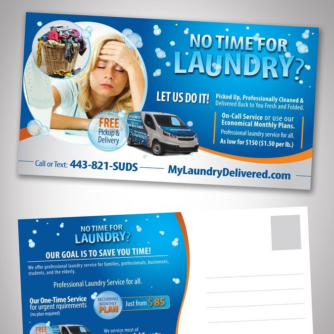 Design A Postcard Mailer For A Wash Wash And Fold Laundry