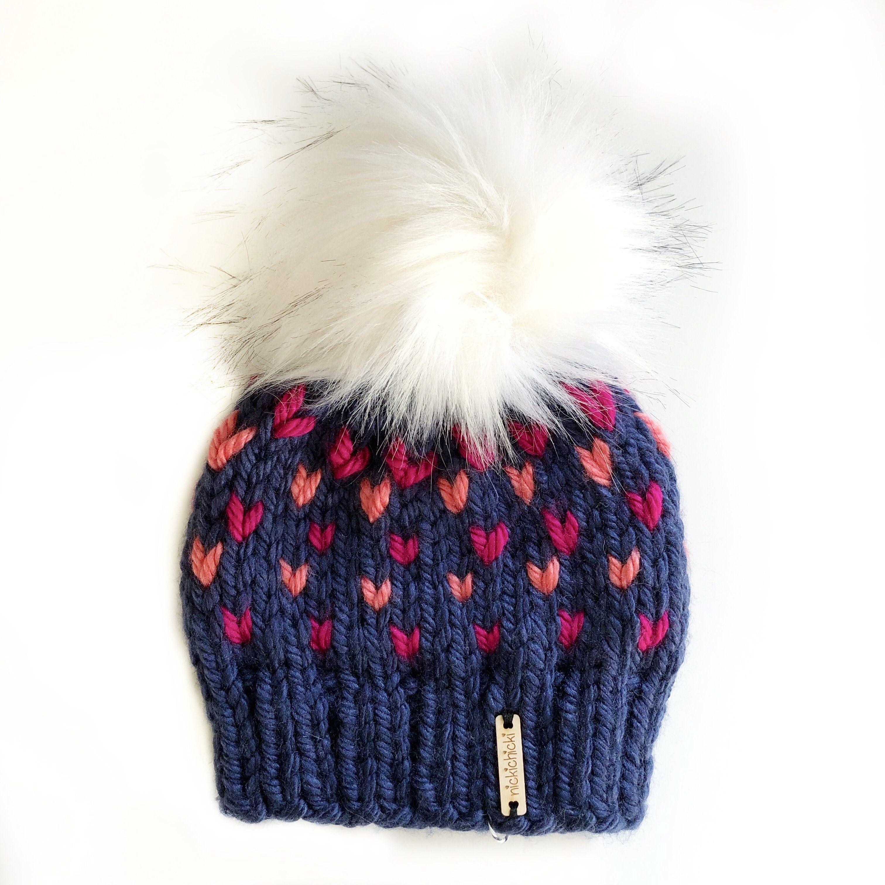Tiny Hearts Faux Fur Pom-Pom Beanie in A Class Act (wool free ... 15799f76bb7