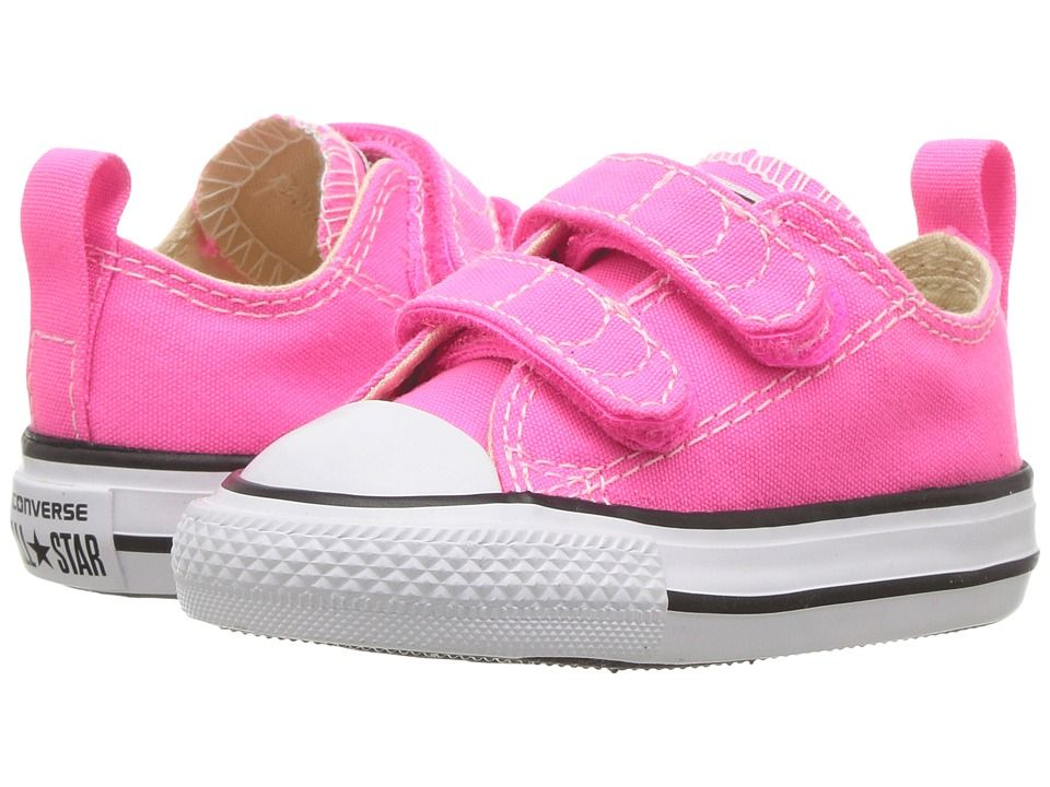 77e2abff83cc Converse Kids Chuck Taylor All Star 2V Ox (Infant Toddler) Girl s Shoes Pink  Pow Natural White