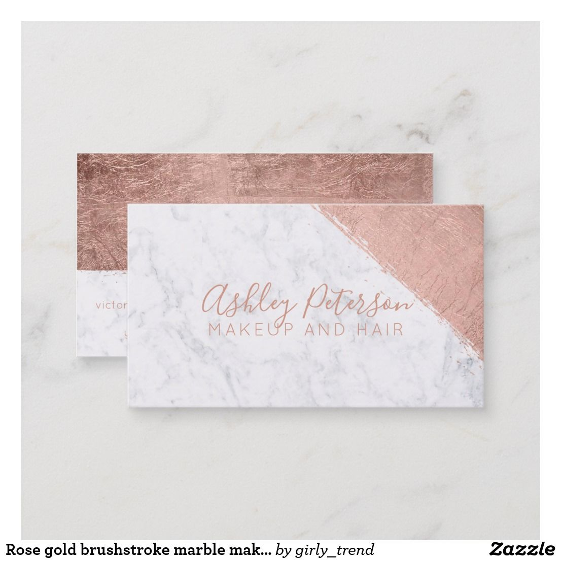 Rose Gold Brushstroke Marble Makeup Typography Business Card Zazzle Com In 2021 Typography Business Cards Business Card Design Visiting Cards