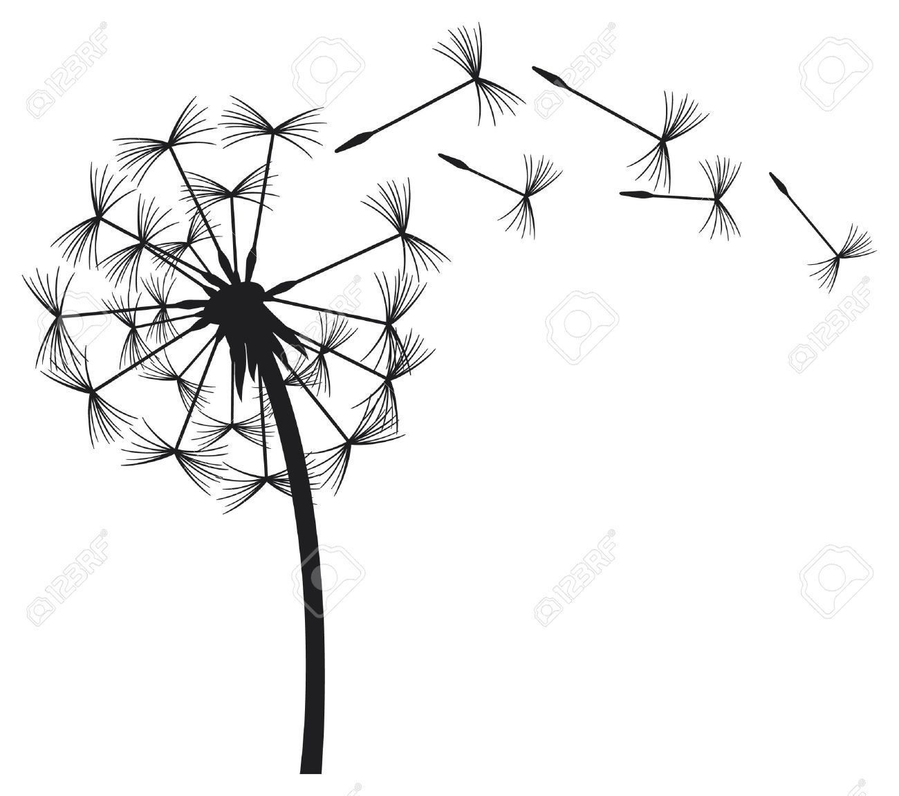 dandelions blowing the wind coloring pages | Blowing Dandelion Stock Vector Illustration And Royalty ...