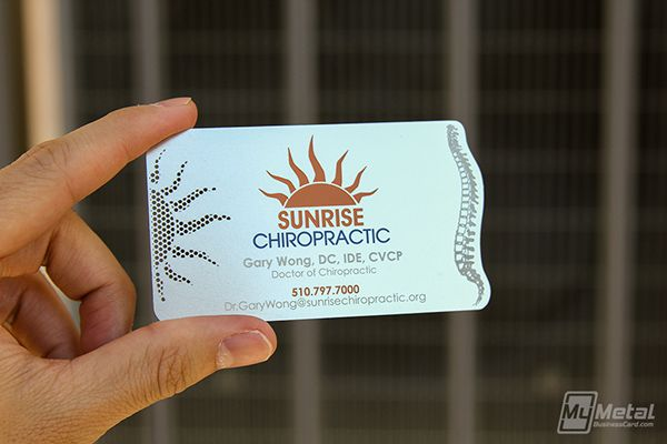 Stainless Steel Business Card For Sunrise Chiropractic On Behance Graphic Design Business Card Metal Business Cards Business Card Design