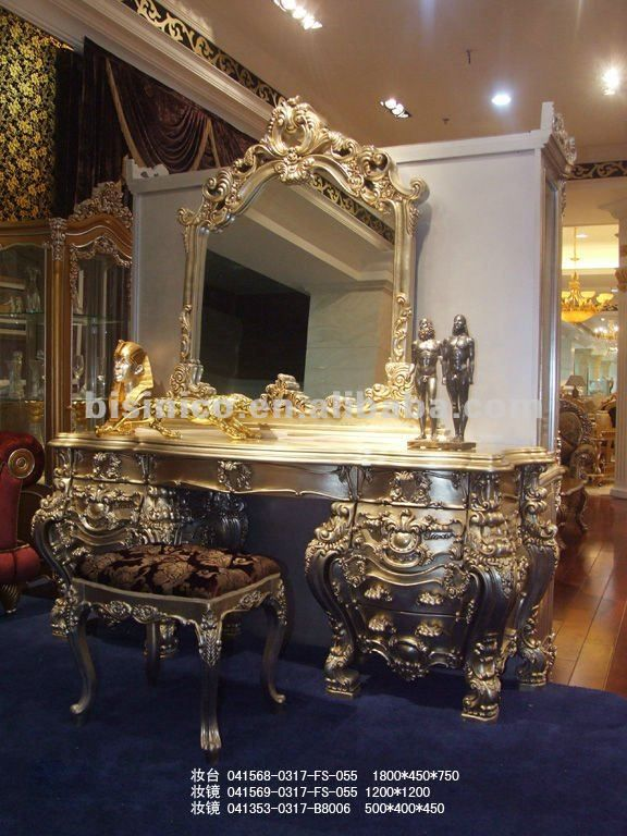 Mirrored Vanity Table And Stool: Luxury European Dresser,dressing Table And Mirror,mirrored
