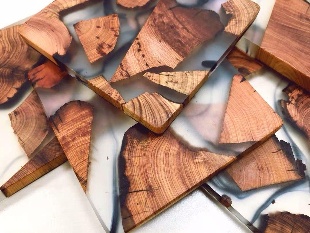 Boho table decor coaster set of 2 Wood and cork backing Epoxy Resin Finish Moon