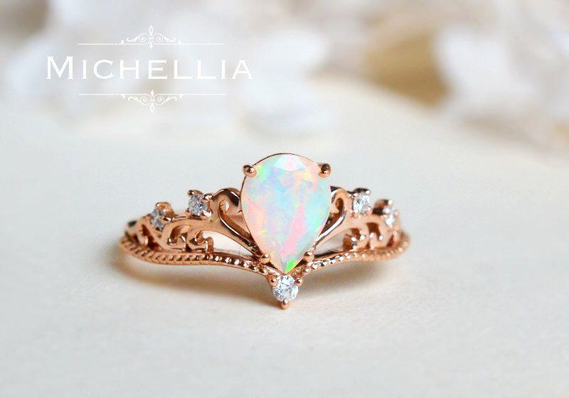 Vintage Pear Opal Engagement Ring 14K 18K Solid Gold Ethiopian Fire