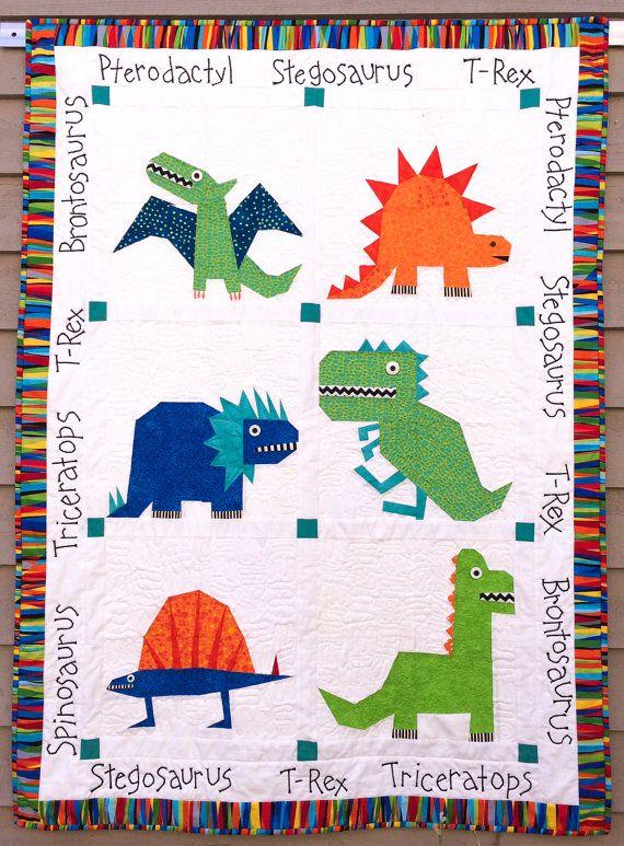 Dinosaur Paper Pieced Quilt in PDF