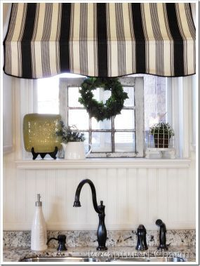 kitchen makeover bistro style, home decor, kitchen design, kitchen island, Kitchen awning over sink