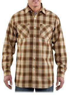 Carhartt Mens S255 Long Sleeve Lightweight Plaid Shirt - Dark Coffee | Buy Now at camouflage.ca