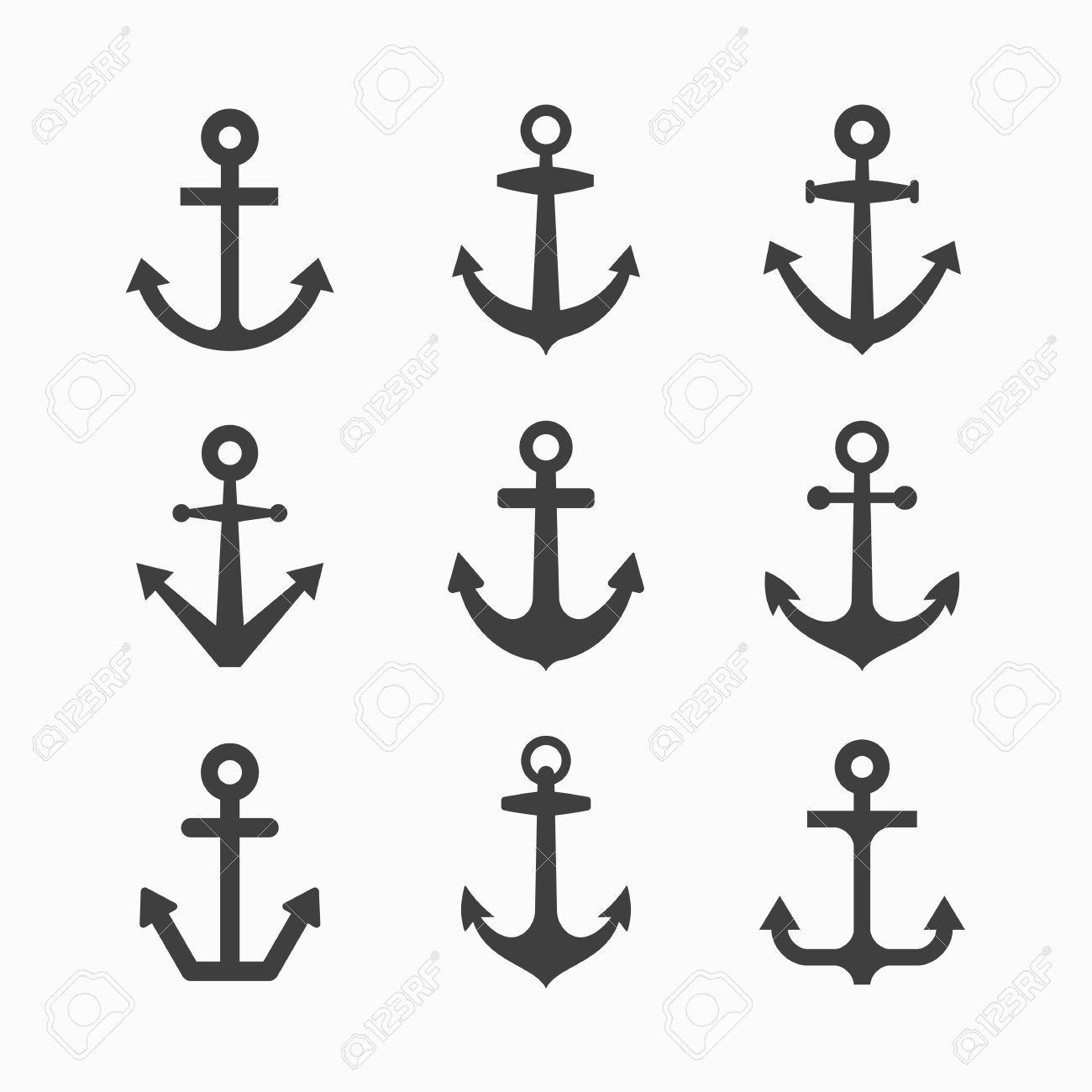 Conjunto De Símbolos De Anclaje Dibujos E Ilustraciones