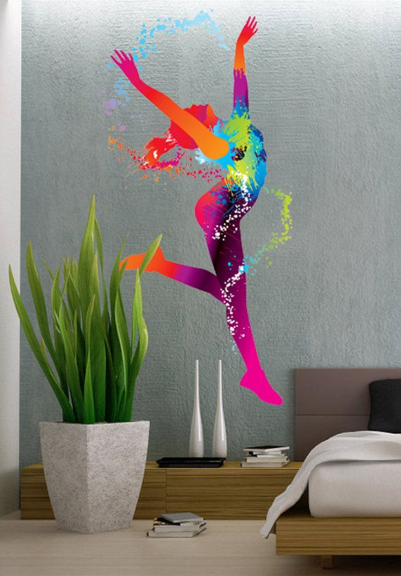 Colorful Dancing Ballet Girl Dance Full Color Wall By Uberdecals Sticker Art Vinyl Wall Decals Vinyl Decor