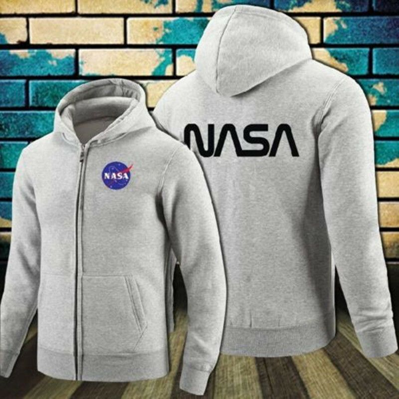 Movie The Martian NASA Logo Hoodies Zip up Cotton Printed Hooded Sweatshirt Coat