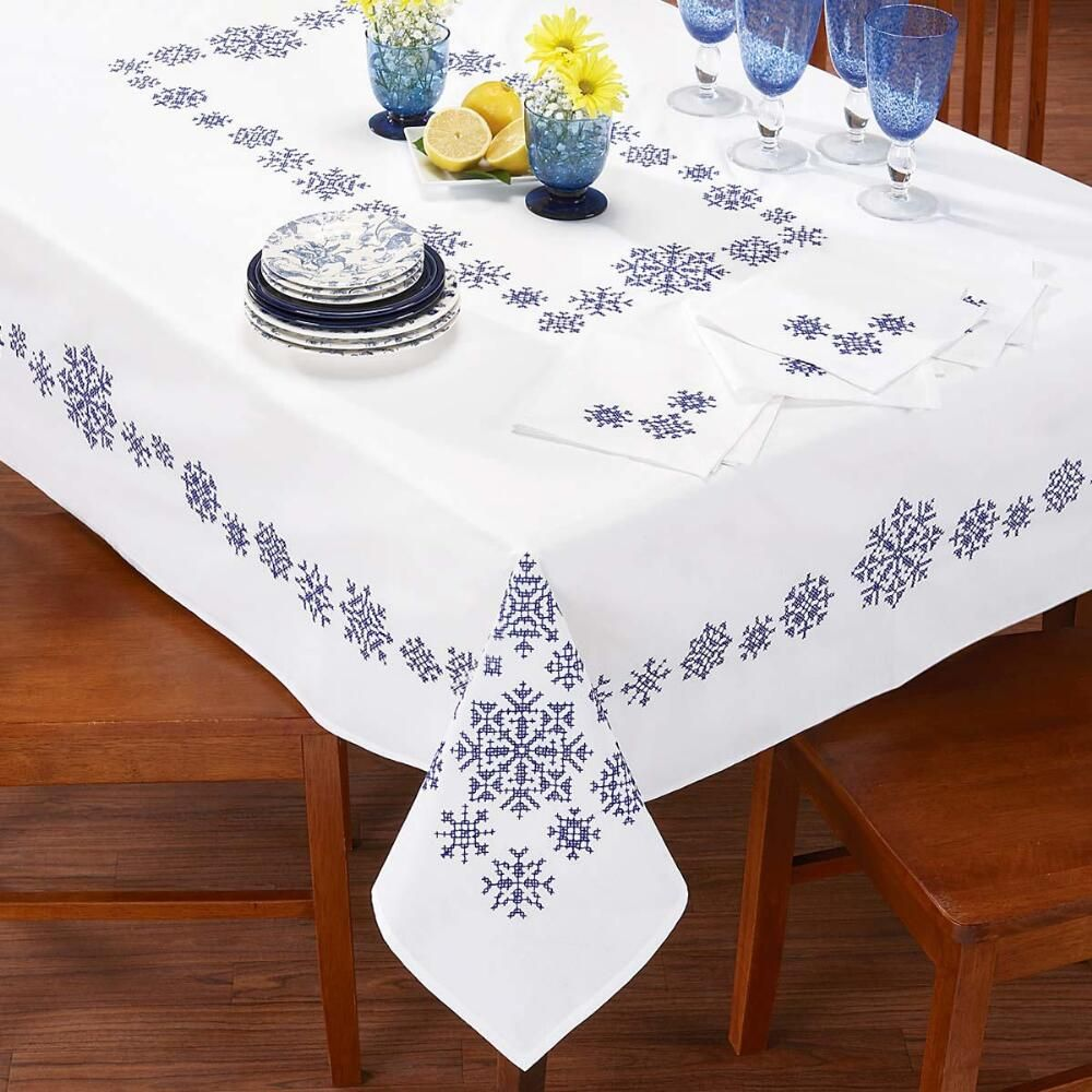 Craftways Blue Snowflake Tablecloth Ensemble Stamped Cross Stitch