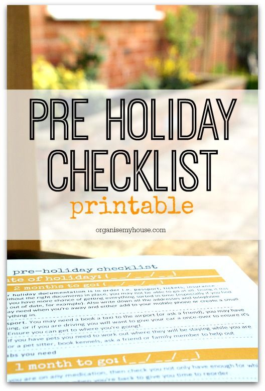 Printable pre holiday checklist - know that it\u0027s done! Holiday