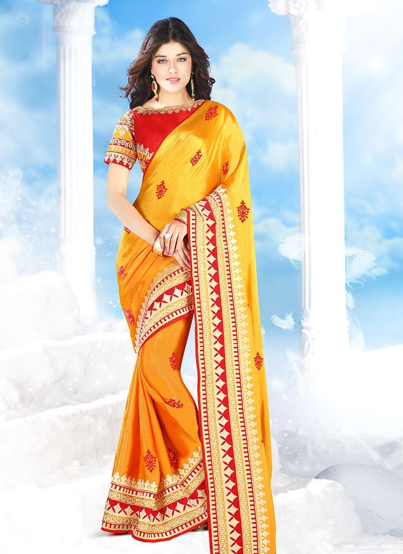 Peach color saree for wedding mesmeric mustard silk party wear designer saree  saree  pinterest