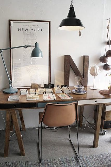 Vintage Home Study Retro Look Nyc Map Home Office Design Home Office Space Interior