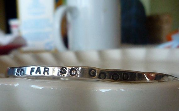 Hand Stamped Bangle Sterling Silver With Your Favorite Saying
