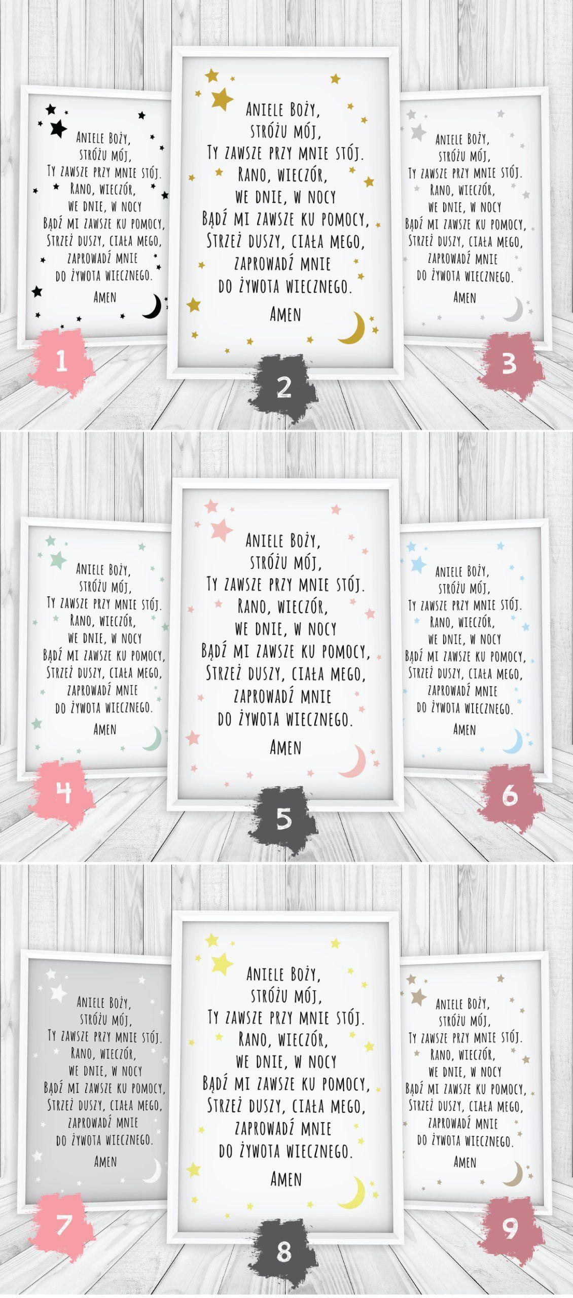Plakat Modlitwa Aniele Boży Ramka Ponad 100wzorów
