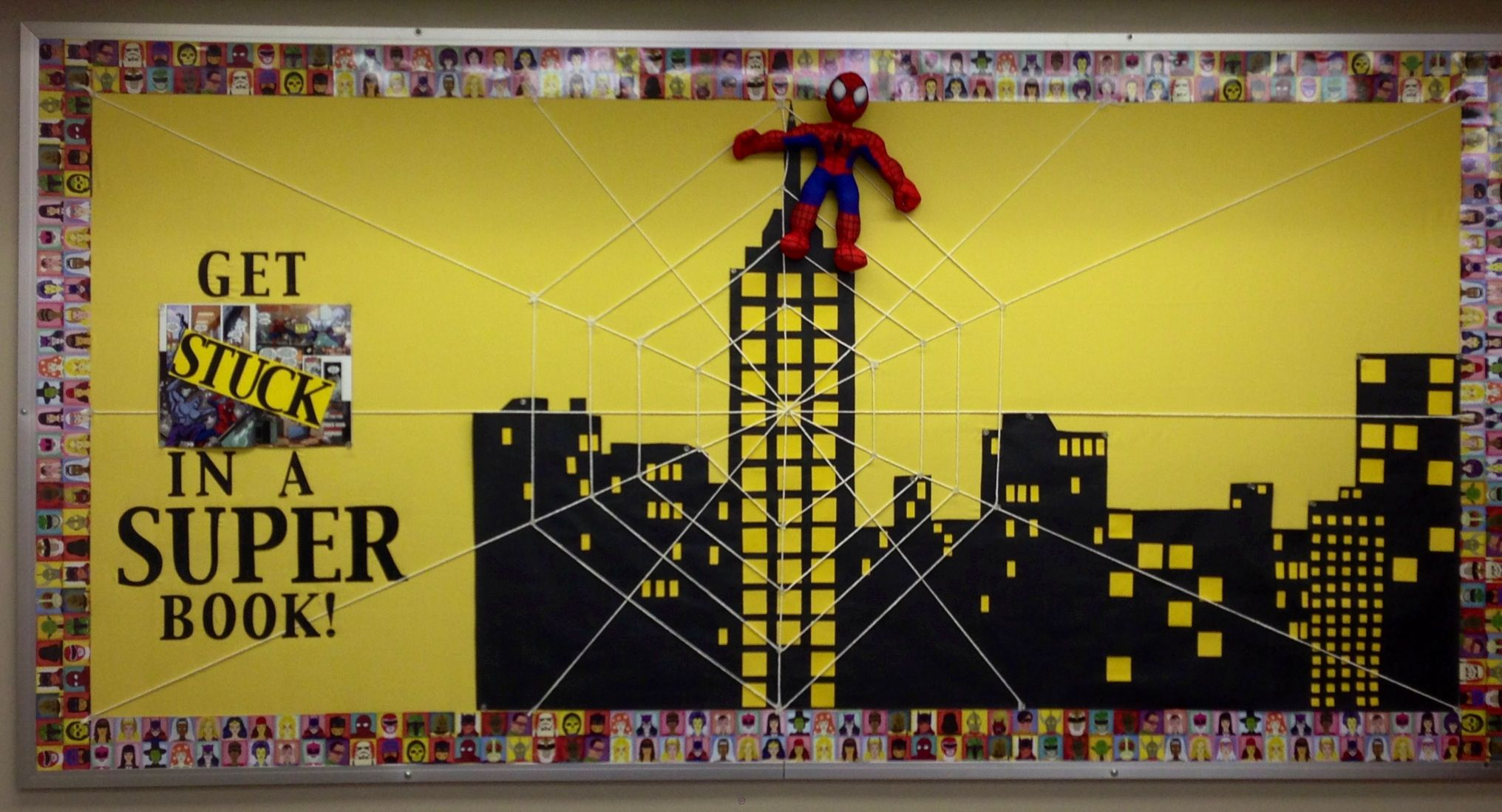 This Spider-Man bulletin board is right next to our class library. Our classroom has a comic book / superhero theme. The hero/villain borders of the bulletin board are actually wrapping paper from Paper-Source that I cut into strips.