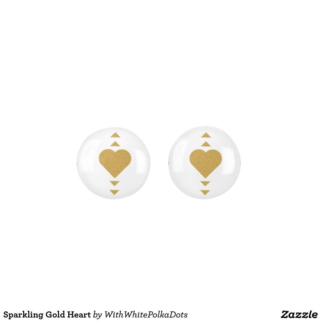 Sparkling Gold Heart Earrings