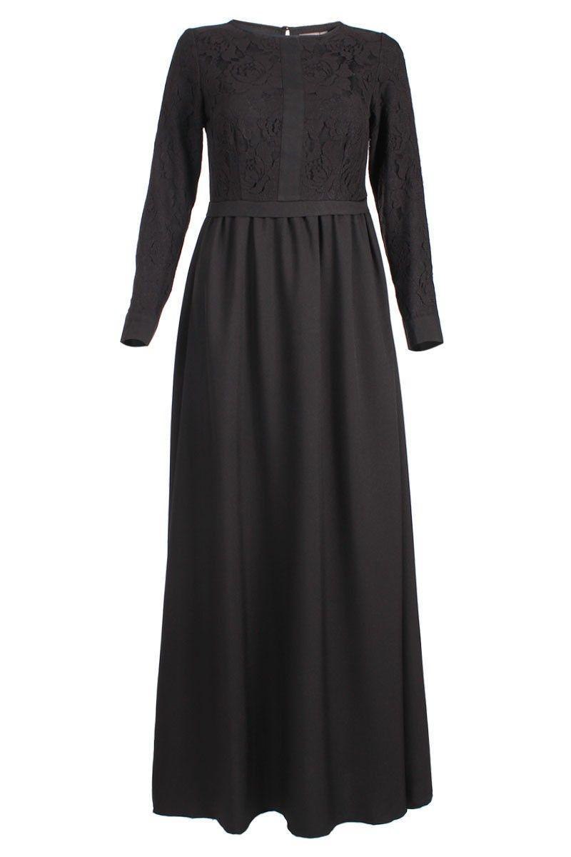 Zwarte kanten maxi jurk