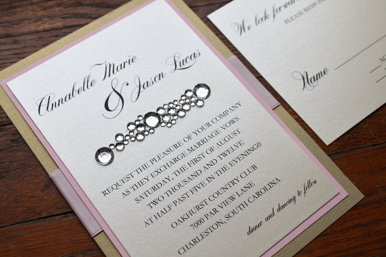 Do It Yourself Wedding Invitations Ideas Bling Wedding Invitations Etsy Wedding Invitations Fun Wedding Invitations