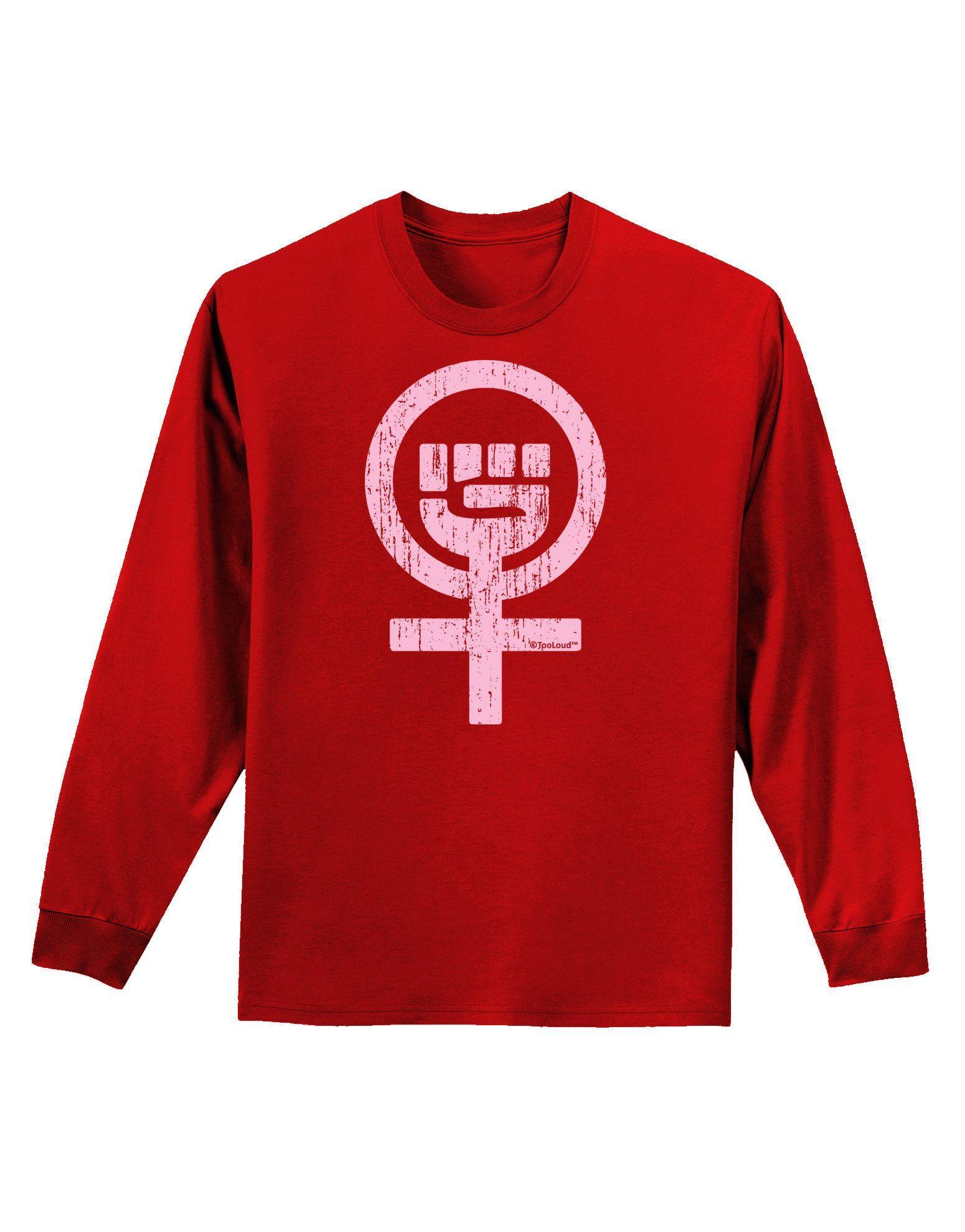 TooLoud Pink Distressed Feminism Symbol Infant T-Shirt Dark