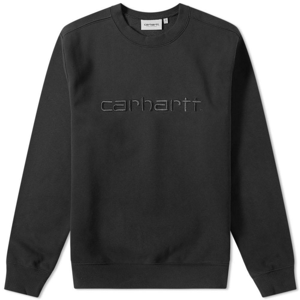 Carhartt Logo Crewneck Sweater Black Mrsorted In 2021 Carhartt Crew Neck Sweater Black Sweaters [ 1000 x 1000 Pixel ]