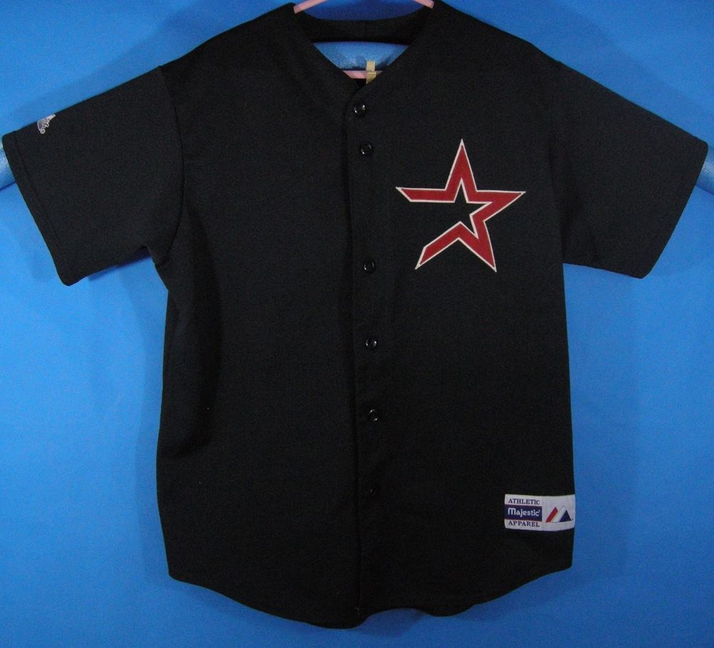 dfb4529b4cacb3 Vintage Houston Astros MLB Baseball Adult XL Black Star Majestic Jersey  Button #Majestic #HoustonAstros