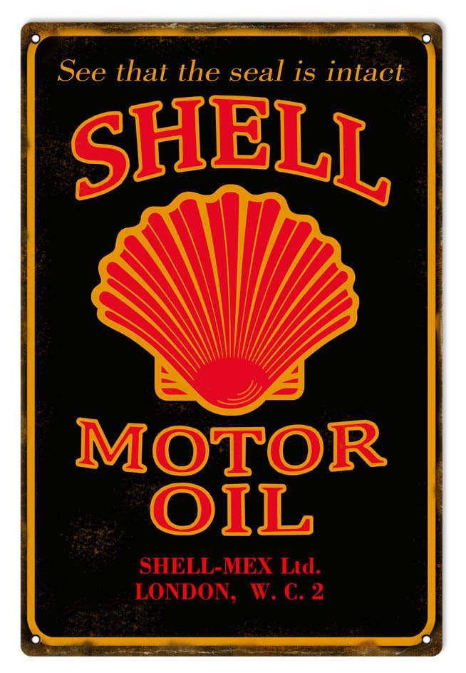Retro Metal Sign Shell Motor Oil Man Cave Garage Shed