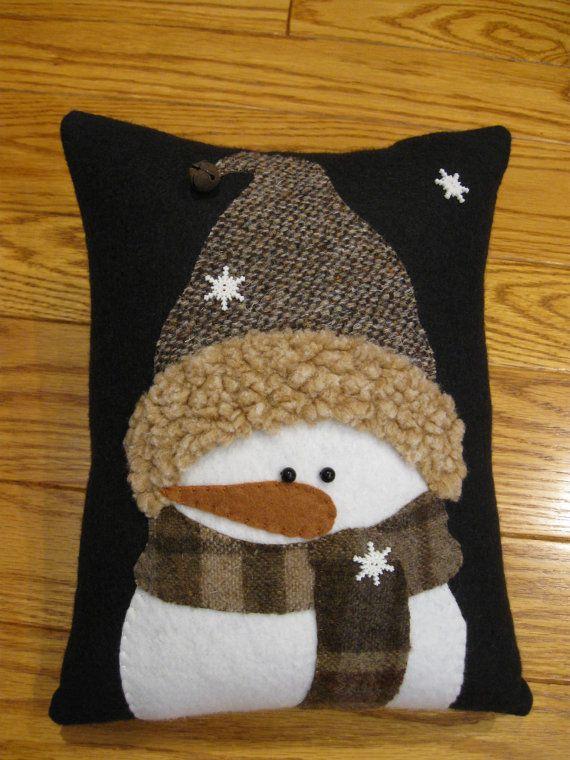 Winter Snowman Pillow All Bundled Up Etsy Snowman Pillow Christmas Quilts Christmas Cushions