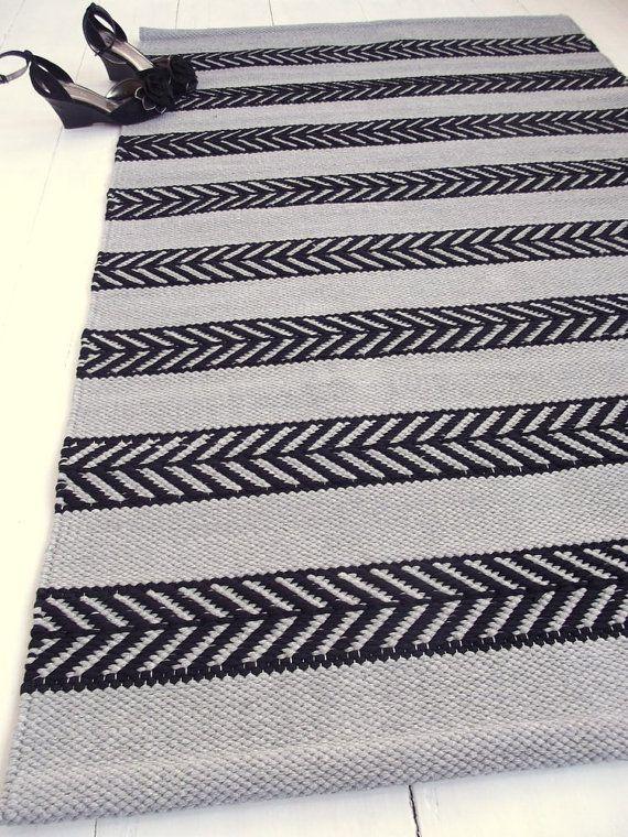 Graue Und Schwarze Baumwolle Teppich Skandinavisches Design