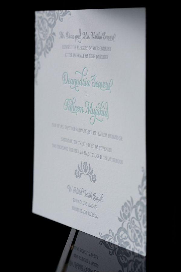 W Hotel South Beach Wedding I Letterpress Wedding Invitation W