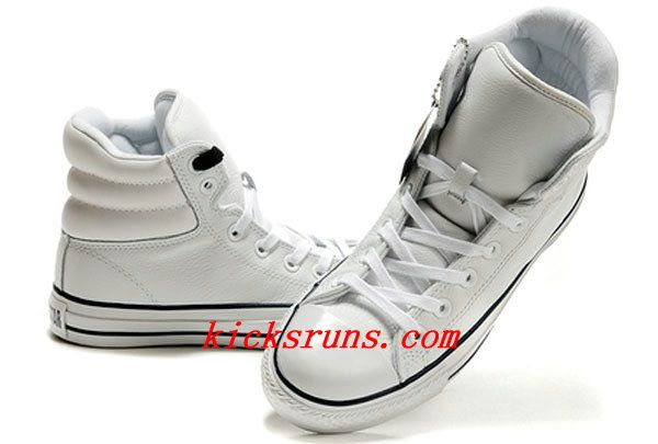 d049eaee7b05 2013 White Embroidery Converse Padded Collar Chuck Taylor All Star High Tops  Leather Winter Boots