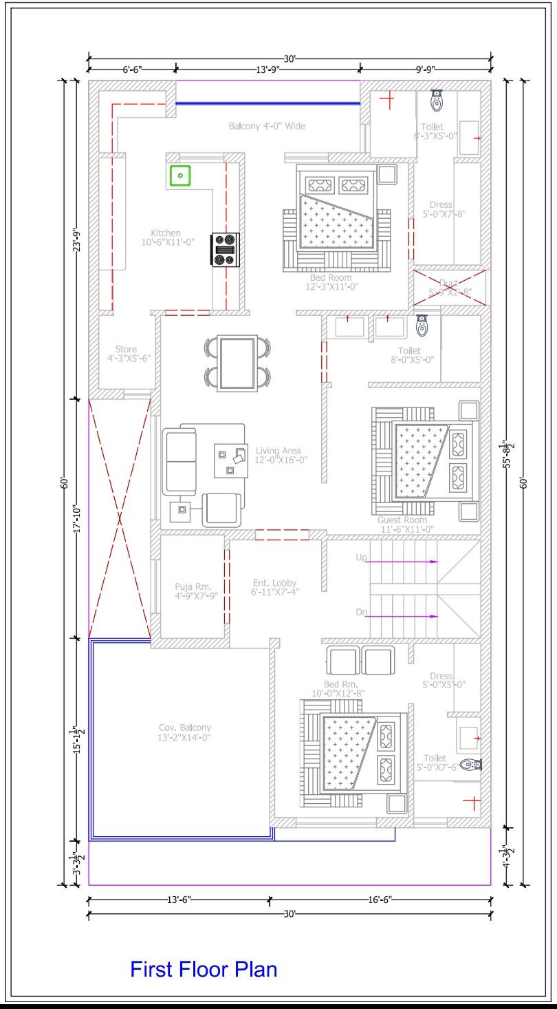 First Floor Plan 30 60 3bhk Single Storey House Plans Town House Plans 20x40 House Plans