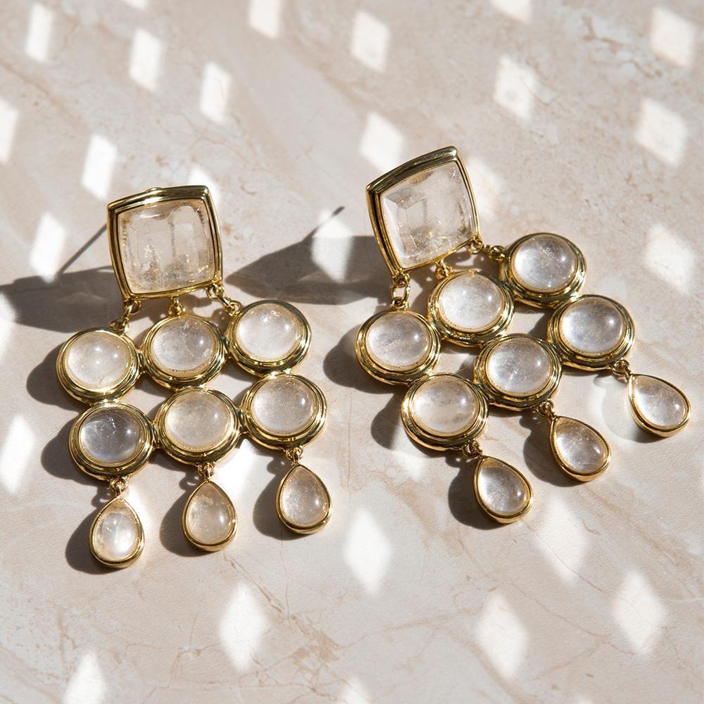 The Quartz Chandelier Earrings in Metallic Silver Luv AJ OBiKYV9