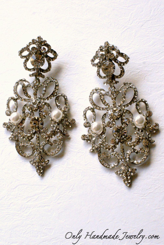Exquisite crystal pearl earrings. Vintage style bridal pearl ...