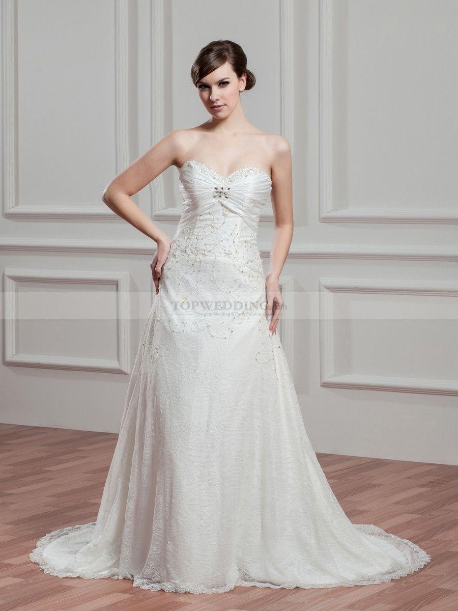 Philene - Herz-Ausschnitt Princess-Stil Spitze Brautkleid mit ...