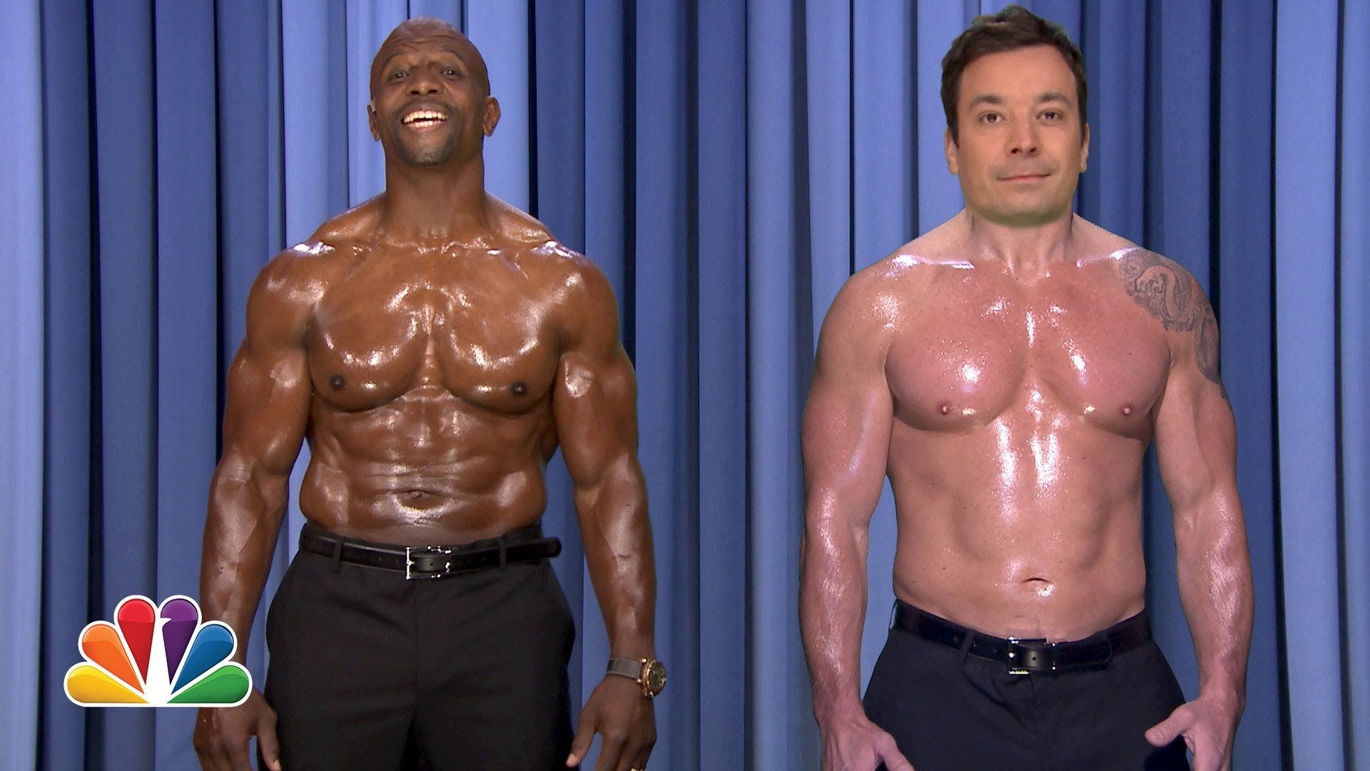 """Jimmy Fallon and Terry Crews put their pecs to work while singing a shirtless duet of the Paul McCartney and Stevie Wonder hit """"Ebony and Ivory."""" Subscribe N..."""