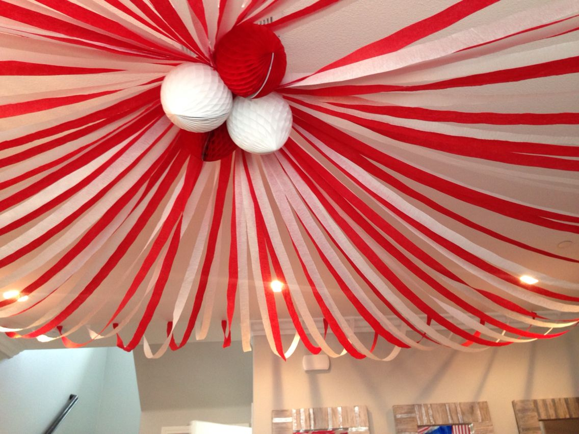 Streamers on the ceiling to tie it altogether!! Circus party | Circus decorations, Streamer ...