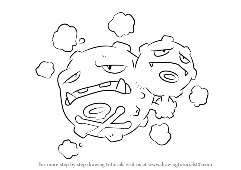Learn How To Draw Weezing From Pokemon Pokemon Step By Step Drawing Tutorials Pokemon Coloring Pages Drawings Pokemon