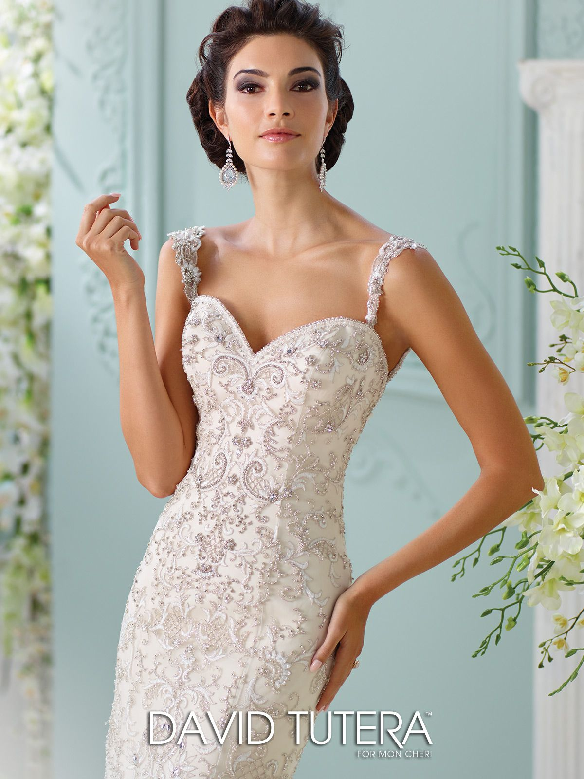 Unique wedding dresses fall 2018 martin thornburg pinterest 116229 surya sleeveless embroidered hand pattern beaded motif tulle and organza over satin mermaid dress with hand beaded straps sweetheart neckline junglespirit