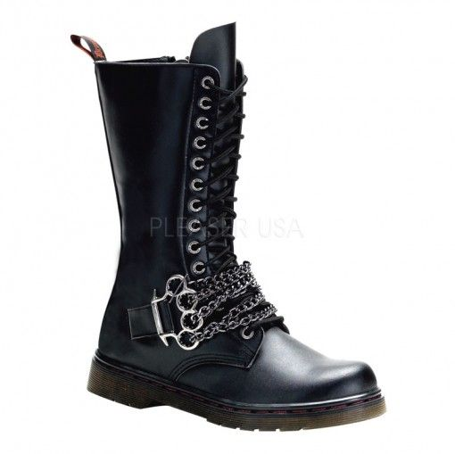 Heavy Metal Calf Boots - Demonia Disorder - 301 by Pleaser. Black Combat  BootsBiker BootsMen ...