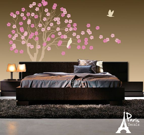 Wall Decals NEW DESIGN Tree with Flowers and FREE by ParisDecals, $78.00